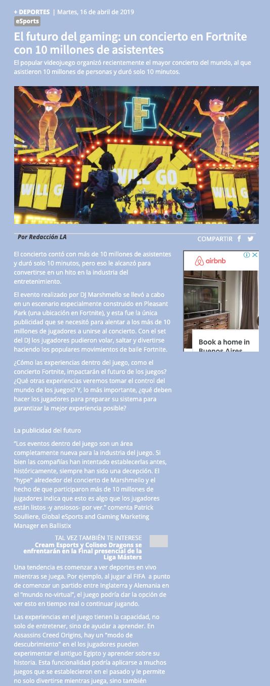 Ballistix en Diario Los Andes