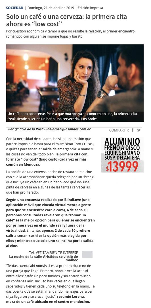 Blind Love en Diario Los Andes
