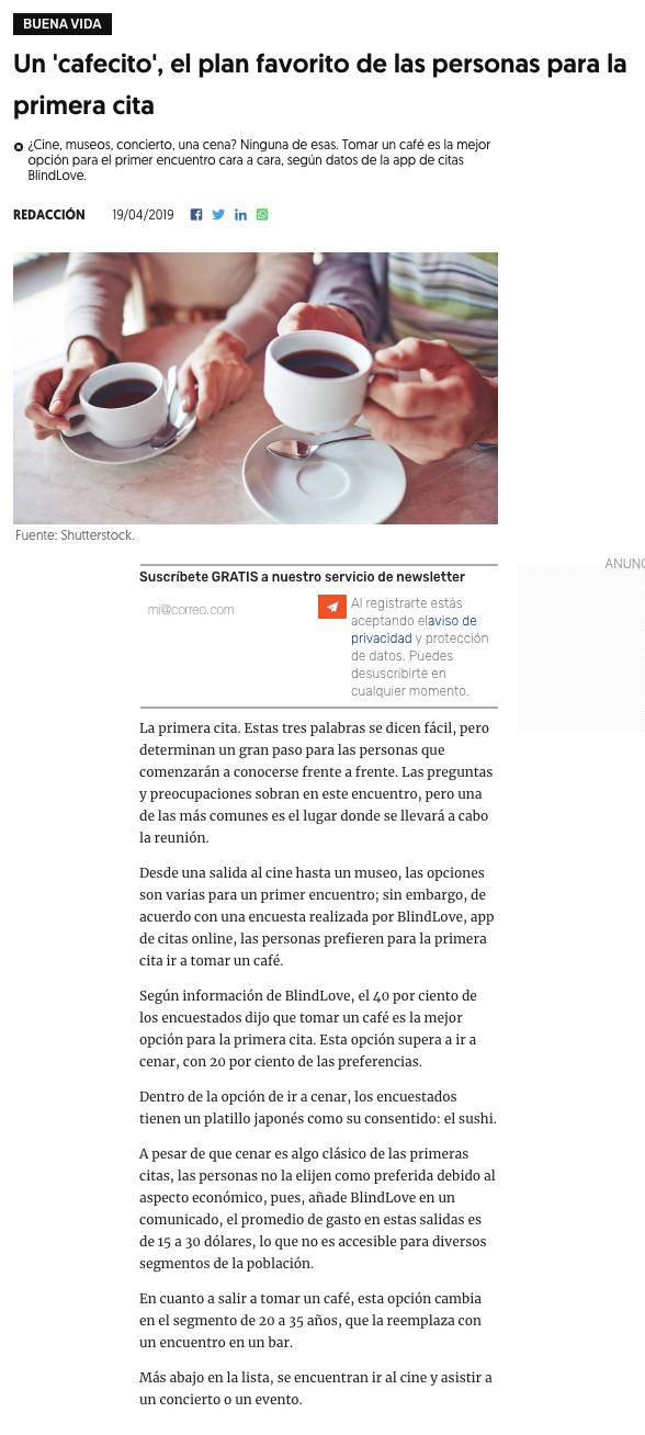 Blind Love en El Financiero (México)