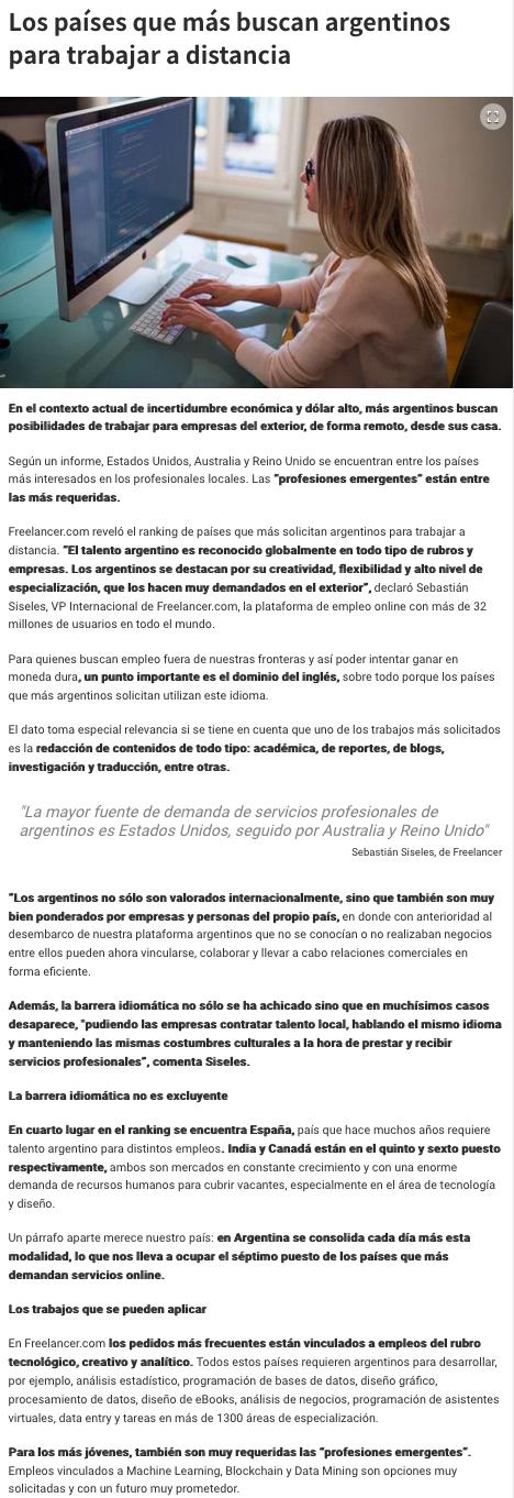 Freelancer on Diario UNO