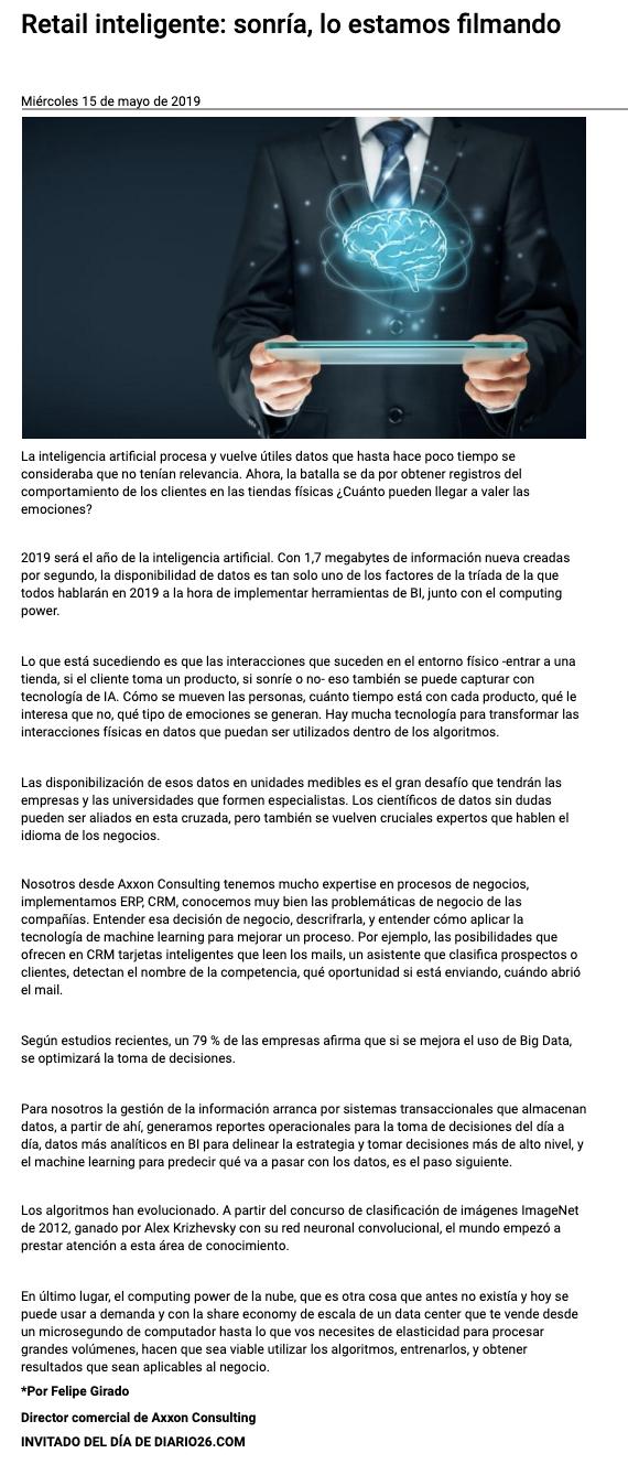 Axxon Consulting en Diario 26