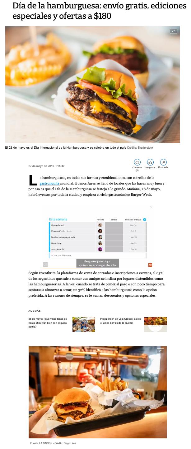 Eventbrite on La Nación