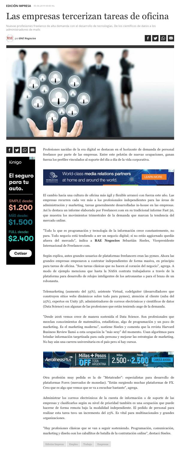 Freelancer en Diario BAE