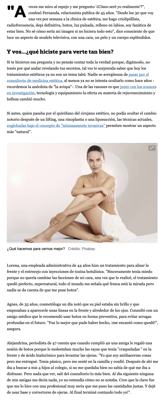 Bioesthetics on La Nación