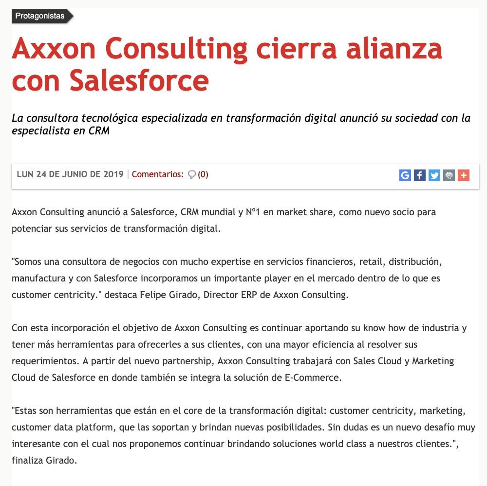 Axxon Consulting en Revista Mercado