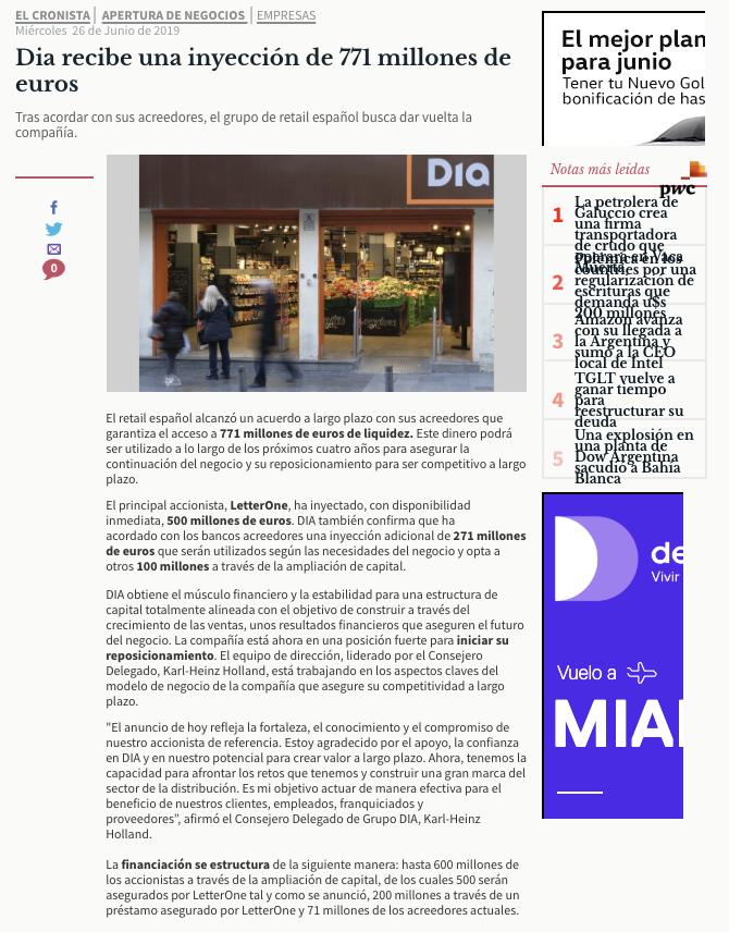 Supermercados DIA en El Cronista