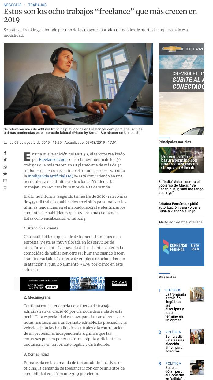 Freelancer on La Voz del Interior