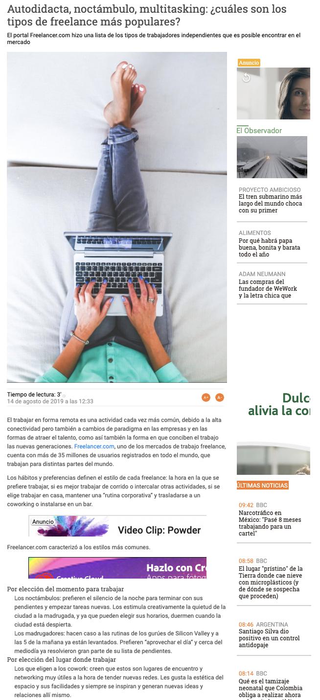 Freelancer on Observador (Uruguay)