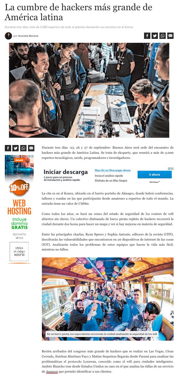 Ekoparty en Diario BAE